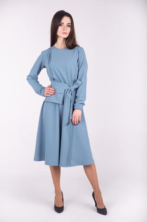 Blue long sleeve dress with belt-bag