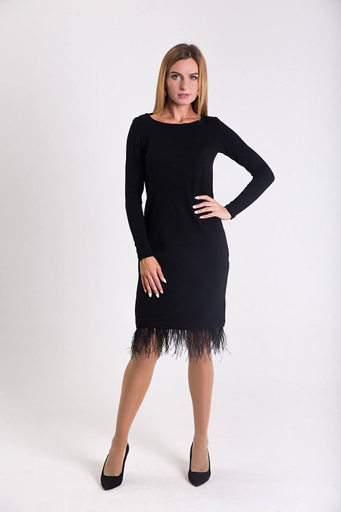 Black knitted dress with feathers
