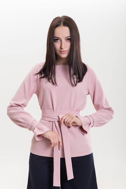 Semi-fitted pink blouse with a belt