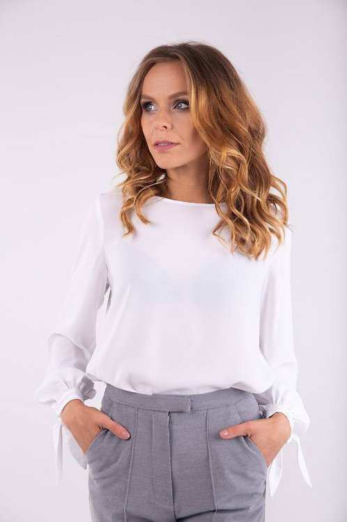 White loose fit blouse with ties on the sleeves
