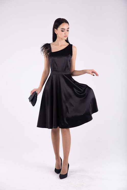 Black dress with asymmetrical top