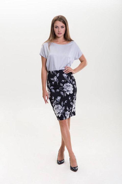 Blue floral print jacquard pencil skirt