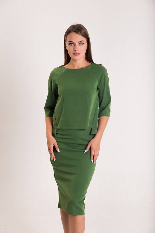 Green Straight Silhouette Top