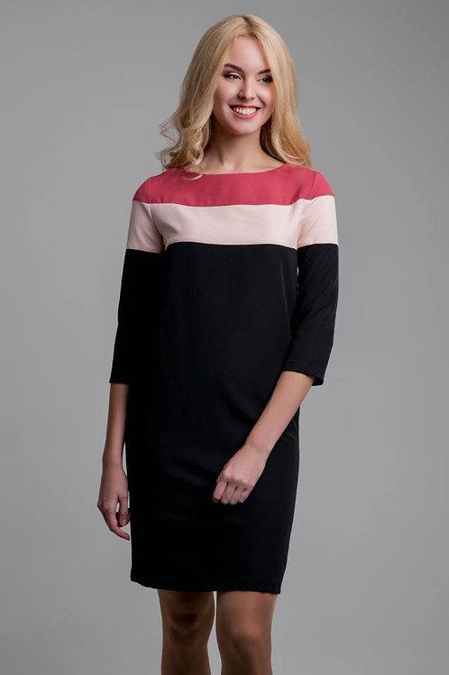 Terracotta and pink yoke dress