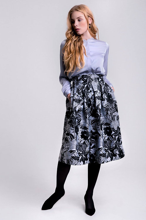 Black floral print jacquard midi skirt