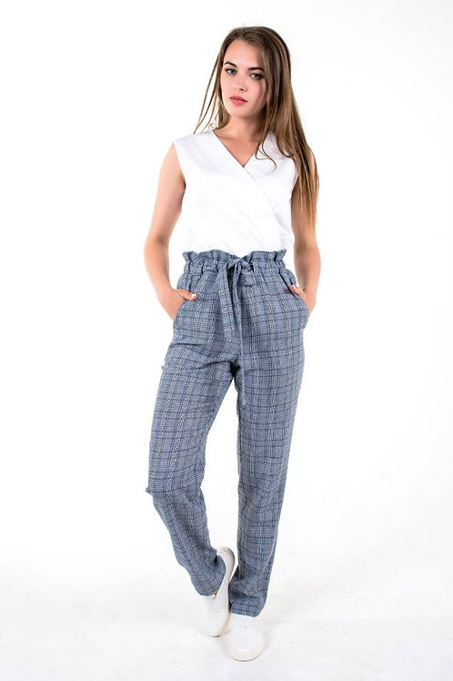Grey blue plaid loose trousers