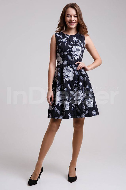 Blue floral print jacquard dress