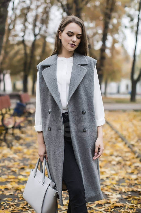 Grey double-breasted straight-cut vest