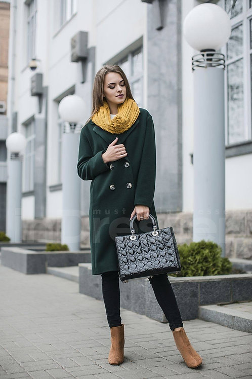 Green double-breasted straight-cut  coat