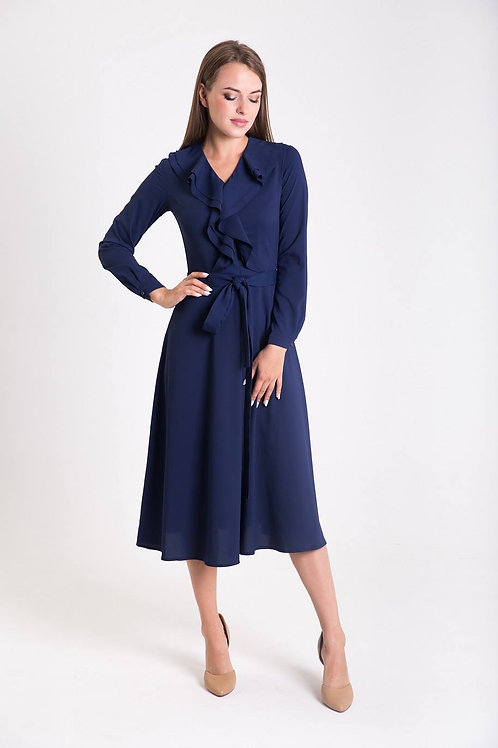 Navy blue dress with valance