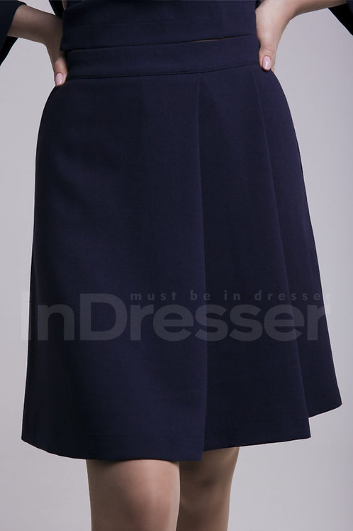 Casual navy blue trapezoid skirt
