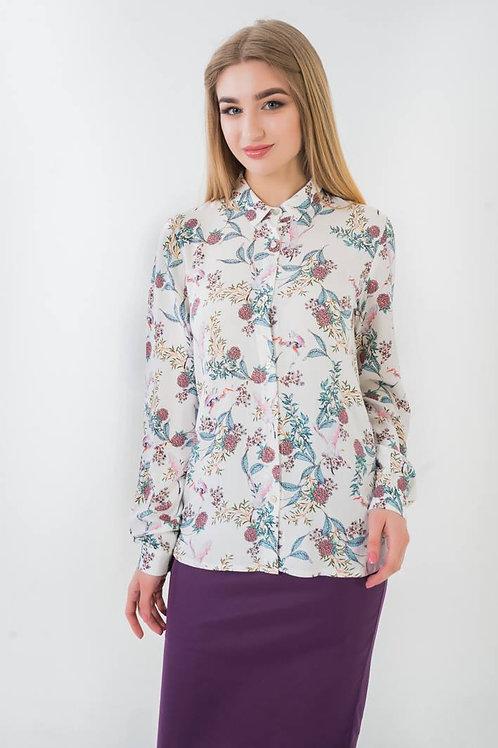 White flamingo print long sleeve shirt