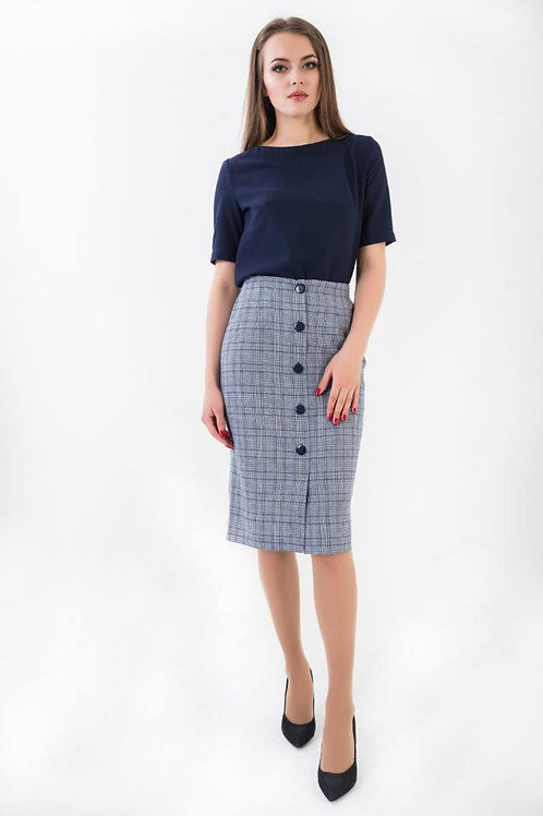 Blue plaid pencil skirt with buttons