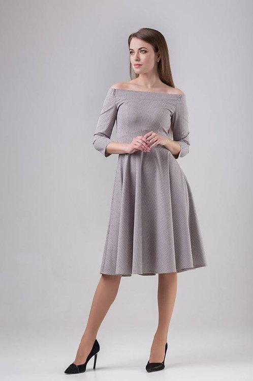 Plaid open shoulder dress