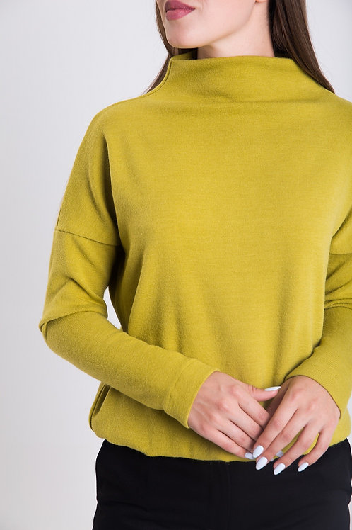 Lime green knitted turtleneck sweater