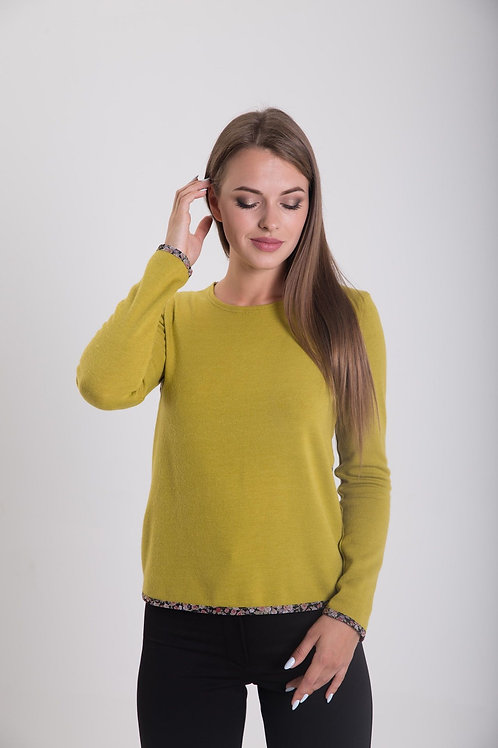 Lime green knitted sweater with chiffon back