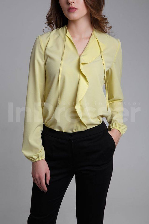 Yellow blouse with valance