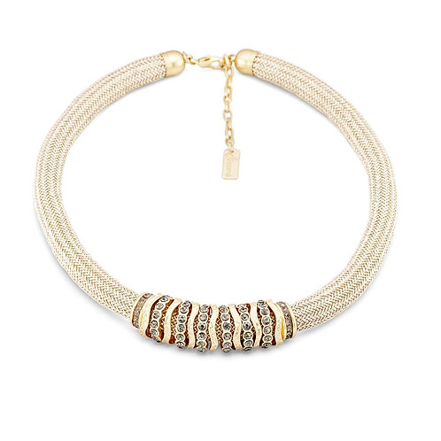 Sincera Textile 18k Gold Plated Collar Necklace