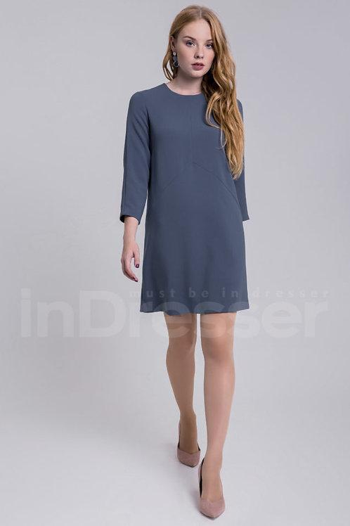 Grey blue long sleeve trapezoid dress