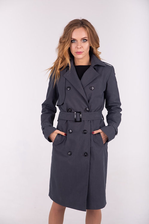 Grey double-breasted trench coat
