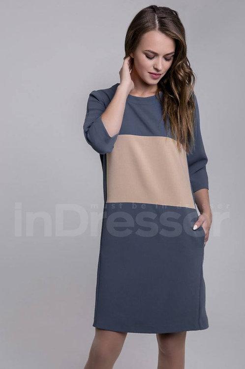 Blue casual dress with a beige stripe
