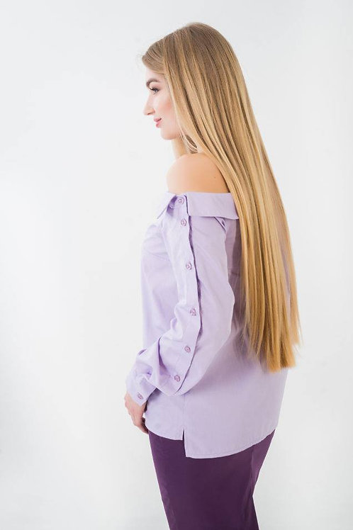 Open shoulder purple blouse with buttons on one sleeve