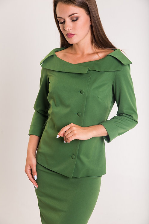Green open shoulder blazer