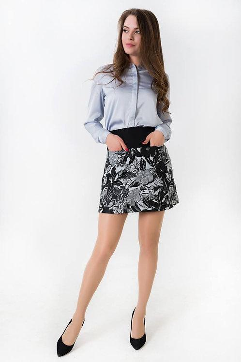 Black floral print jacquard mini skirt