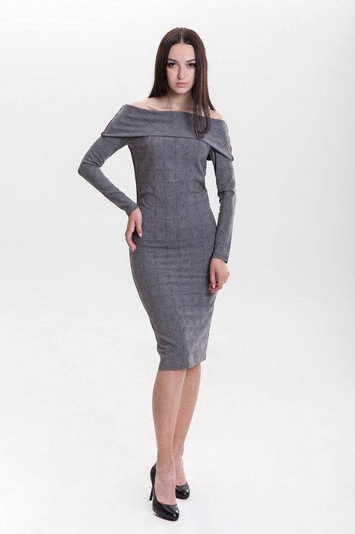 Grey plaid open shoulder midi dress
