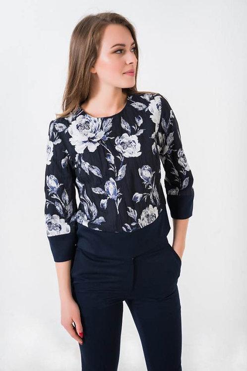 Blue floral print top