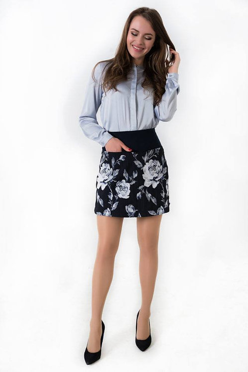 Navy blue floral print jacquard mini skirt