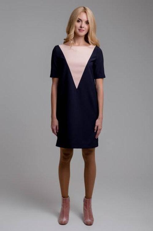 Blue dress with a pink V-shaped yoke