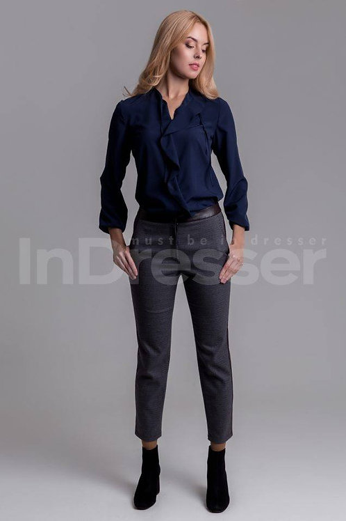 Navy blue blouse with valance