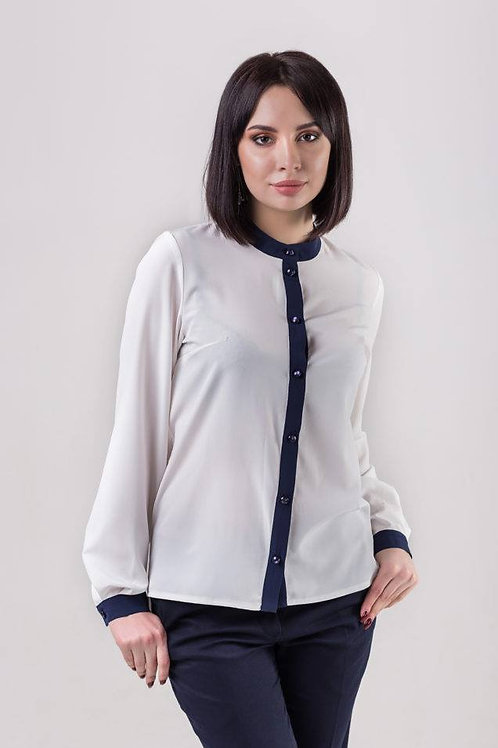 Creamy white blouse with navy blue placket, collar and cuffs