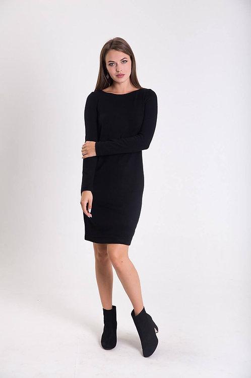 Black knitted dress with chiffon back