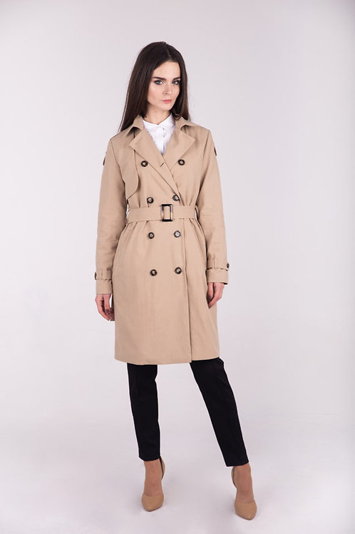 Sweet corn double-breasted trench coat