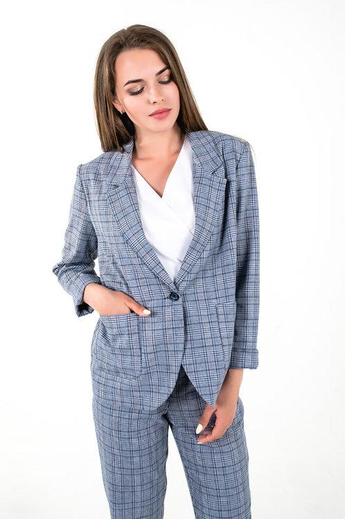 Grey blue plaid blazer