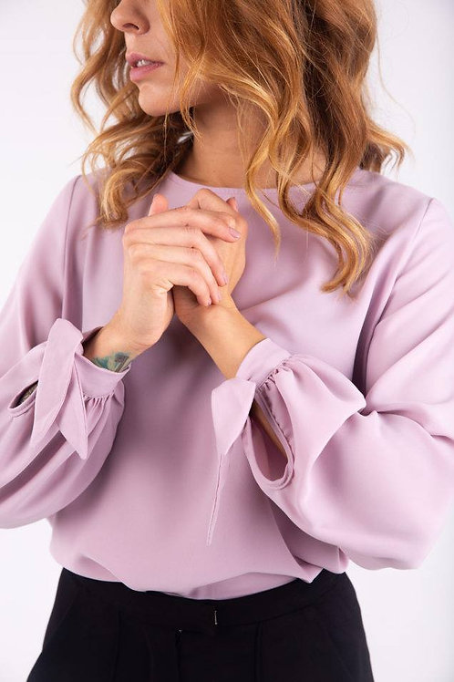 Sweet lilac loose fit blouse with ties