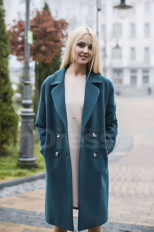 Fir-tree color double-breasted straight-cut coat