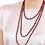 Thumbnail: Wine Red Long Italian Beaded Necklace