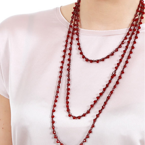 Wine Red Long Italian Beaded Necklace
