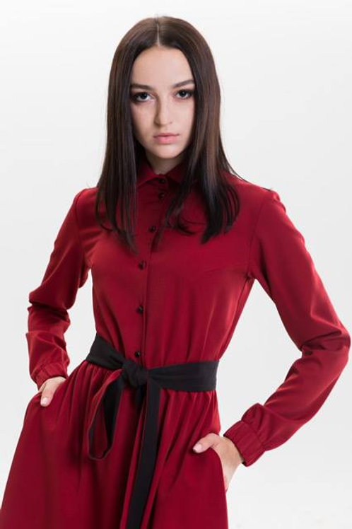 Flared red dress with a double-sided belt