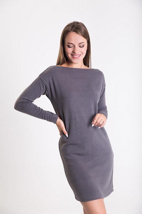 Grey open-shoulder knitted dress