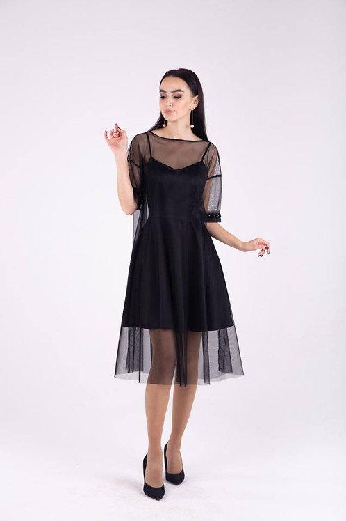 Double layer black dress