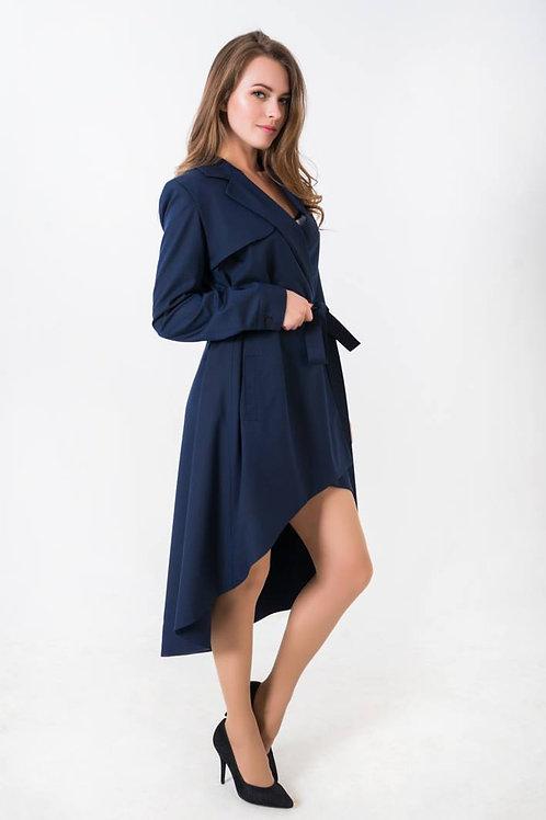 Blue Asymmetric Trenchcoat