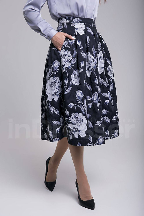 Blue floral print jacquard midi skirt