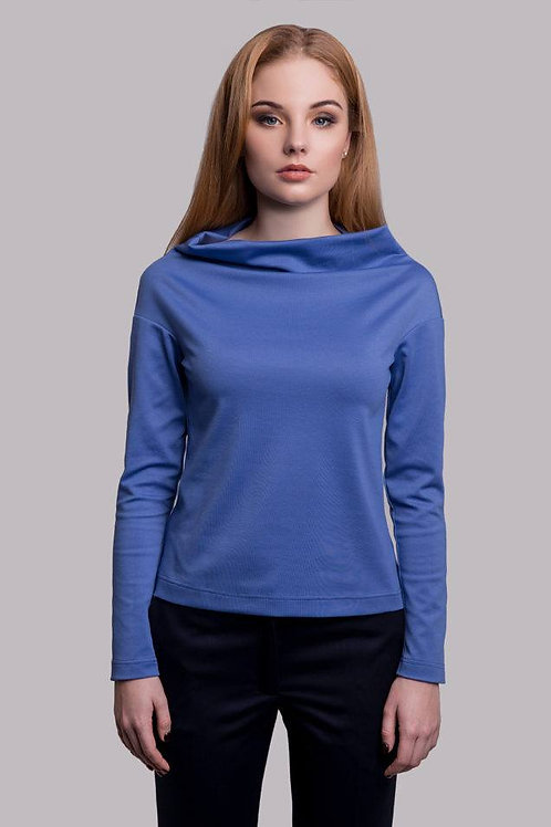 Blue semi-fitted off-shoulder top