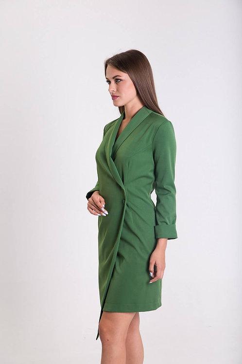 Green dress with asymmetric collar