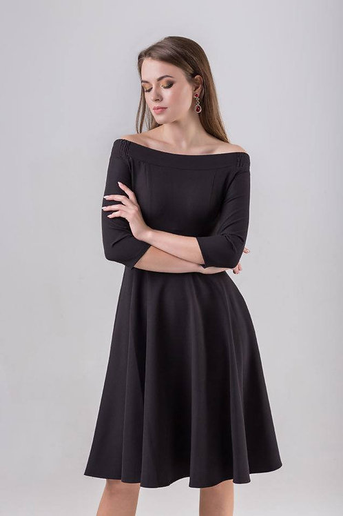 Black open-shoulder dress