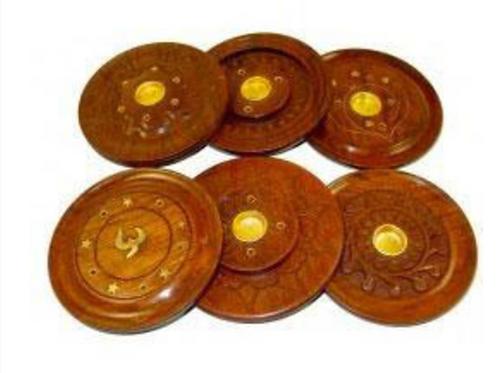 "4"" Diameter Inlay-ed Round Wooden Incense Burner"